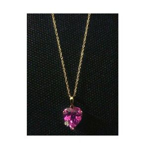 """10K Yellow Gold Pink Sapphire Heart Necklace 19"""""""